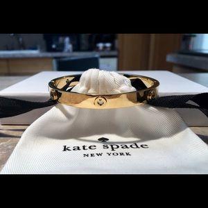 Kate Spade Gold-Tone Spot the Spade Hinged Bangle